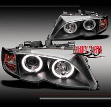 02 03 04 05 BMW E46 3 SERIES 4DR HALO PROJECTOR HEADLIGHTS BLACK CORNER SIGNAL