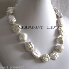 "20"" 17-24mm White Ding Mussels Nuclear Freshwater Pearl Necklace AC"