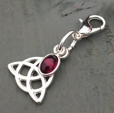 Triquetra & 925 silver Garnet Clip on Charm PROTECTION Wicca Pagan Celtic Knot