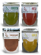 MAXX Organics Best Value 4pk GREEN GOLD RED CACAO SUPERFOOD POWDER Comp Organifi