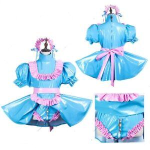 blue Sissy maid pvc dress lockable Jumpsuit Romper