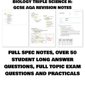 Triple Science Bio, Chem & Physics Higher - Grade 9 GCSE Revision Guide/Notes