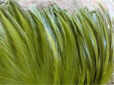 Olive Green Rooster Saddle Strung Feathers    US Seller