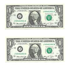1974 $1 KANSAS CITY FRNs, 2 CONSECUTIVE & UNCIRCULATED BANKNOTES