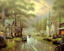 Thomas Kinkade HOMETOWN EVENING canvas COA signed