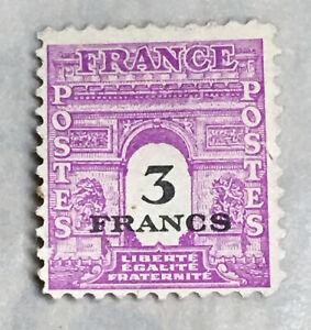 1944-45 FRANCE 3 FRANCS OVERPRINT STAMP U.S. U.K. ALLIED MILITARY ISSUE