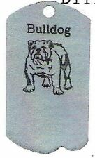 1 Bulldog Zipper Pull - Pewter  Dog Tag - For Jackets