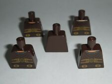 TORSO Lego X5 Dark Brown Ribbed Armor & Buckles Pattern NEW (NO ARMS OR HANDS)