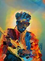Original Abstract Jimi Hendrix Yellow Strat Psychedelic Music Wall Art Painting