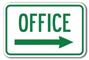 Office with Right Arrow Aluminum 8 x 12 Metal Novelty Sign