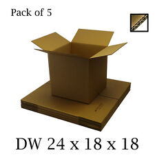 5 x Double Wall Shipping Moving Boxes Home Storage Removals Mailing 24x18x18""