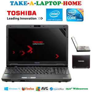 "Toshiba Windows10 Laptop 15.6"" Big Widescreen WiFi Webcam DVD-RW Fast Black"