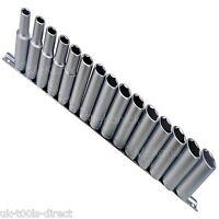 "15PC 3/8"" Deep Drive Sockets 8 -22mm Cr-v Steel On Rail 6 Point Single Hex"