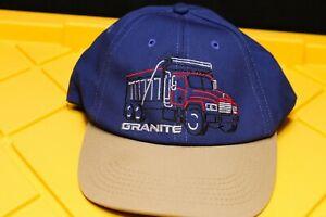 GRANITE MACK TRUCK Baseball Hat Blue Tan Stitch Design Truck Adjustable