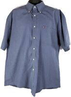 Tommy Hilfiger Men's XL Short Sleeve Plaid Blue White Button Down Shirt Used