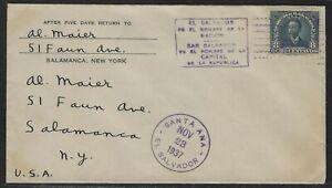 1937 El Salvador Scott #563 Cover - Santa Ana to Salamanca, New York