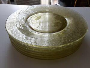 Vintage Yellow Florentine Depression Glass Dinner Plates Set of 7