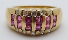 BEAUTIFUL Solid 14k Yellow Gold / Ruby / Diamonds Ladies Ring Size 6.25