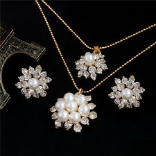 18K Gold Plated Austrian Crystal Flower Necklace Stud Earrings Jewelry Set