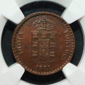 Portuguese India GOA 1871 5 Reis NGC Graded MS-62 ONLY 51,000 Mintage Rare