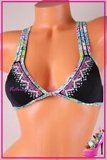 NWT Victoria's Secret Swim Bikini Top Triangle Padded Bling Jewel Black M