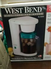 New in box vintage West Bend 2 Quart Iced Tea Maker w/ 4 18 oz tumblers Open Box
