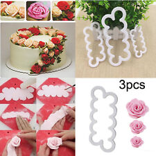 3x Cake Rose 3D Mold Flower Cutter Fondant Icing Tool Sugar Decorating Mould DIY