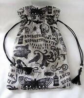 Mystic Ouija Theme Wicca Pagan Tarot Card Drawstring Mojo Bag Pouch ~ FREE SHIP