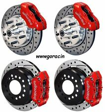 "WILWOOD DISC BRAKE KIT,73-83 CDP A,B,E,F,J-BODY,11"" DRILLED ROTORS,RED,W/CABLE"