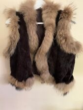 Rabbit And Racoon Fur Brown Beige Gilet Size S
