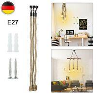 E27 1m LED Industrie Kronleuchter Retro Hanfseil Deckenleuchte Einzel//Doppelkopf