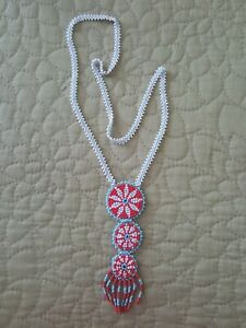 Southwestern Long Vintage Seed Bead Woven Necklace, Triple Medallion, Leather