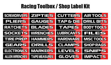 Tool Box Label Vinyl Decal Kit - Racing Inspired - Trailer, shop cabinet labels