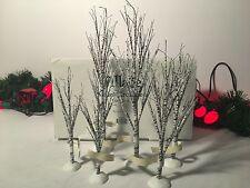 "NEW DEPARTMENT 56 VILLAGE WINTER BIRCH TREES LOT OF 6 #52636 7.5""-11.5"""