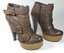 Dune brown leather high heel ankle boots uk 4 eu 37