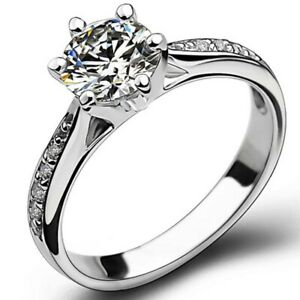 Fashion 925 Sterling Silver 0.7 CT Simulated Diamond Solitaire Ring Jewelllery