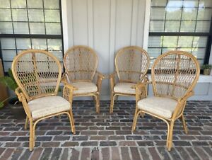 Vintage Rattan Peacock Chair Accent Bamboo Wicker Barrel Fan Back Dining Patio