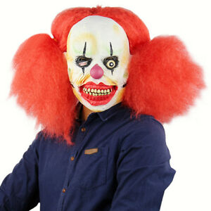 Adults Scary Evil Circus Clown Mask Fancy Dress Halloween Props Cosplay Costume