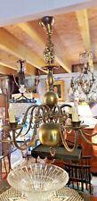Lustre en bronze et laiton Hollandais 8 feux début 20ème h 80 diam 75 cm