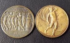 URUGUAY 1923 OLD LOT 2 ART NOUVEAU MEDALS NUDE MAN & WOMAN, HORSE, EQUESTRIAN...
