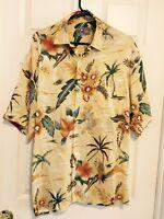 Men's Silk Hawaiian Shirt by Hilo Hattie Medium M Yellow Parrots/Flowers/Leaves