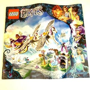 2015 Lego Elves Retired Airas Pegasus Sleigh 41077 MANUAL ONLY FS