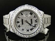 28 Ct New Mens Fully Iced out Genuine Diamond Rolex Date Just 2 II 45MM Watch