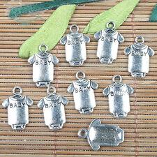 Alloy metal Tibetan Silver color BABY clothes design charms 110pcs EF0144