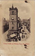 UK St. Albans - Clock Tower and Market Place old unused postcard