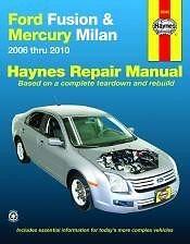 2006-2010 FORD FUSION MERCURY MILAN REPAIR MANUAL Owners Book Service