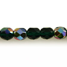Dark Emerald Green Vitral - 50 6mm Round Faceted Czech Glass Fire Polish Beads