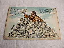 Postkarte Ansichtskarte Karte PK AK Künstlerkarte Scherzkarte Mann Maßkrüge 1913