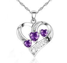 "Sterling Silver Heart Love CZ Amethyst Pendant Necklace 18"" Chain Gift Box E7"