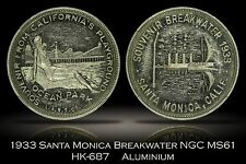 1933 Santa Monica Breakwater Aluminum HK-687 NGC MS61 scarce without numbering